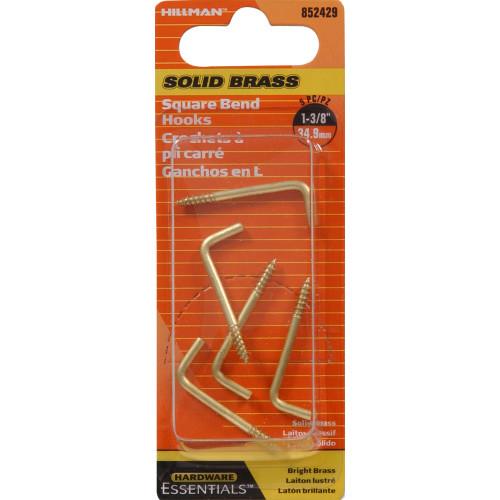 Hardware Essentials Square Bend Hook Brass 0.106