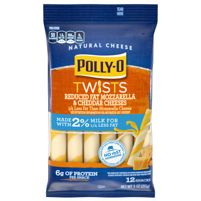 Polly-O Twists Reduced Fat Mozzarella & Cheddar Cheese Snacks 9 oz