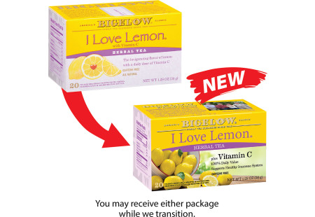 Picture showing previous I Love Lemon Herbal Tea Plus Vitamin C Box compared to new  I Love Lemon Herbal Tea Plus Vitamin C package