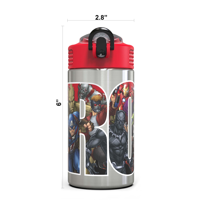 Marvel Comics 15.5 ounce Water Bottle, Black Panther, Captain America, Spider-Man & The Hulk slideshow image 2
