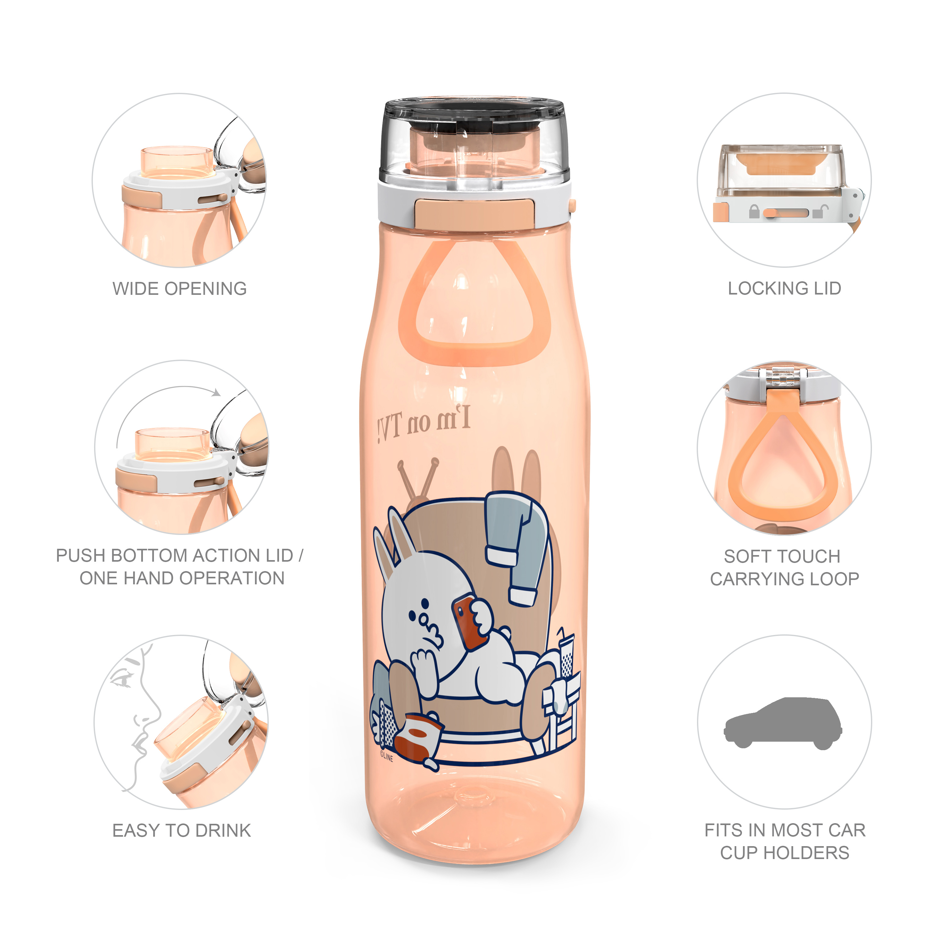 Line Friends 25 ounce Water Bottle, Conny and Sally slideshow image 6