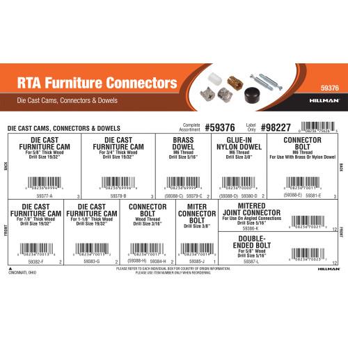 RTA Furniture Connectors Assortment (Die Cast Cams, Connectors & Dowels)