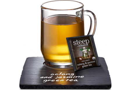 Cup of steep by bigelow organic oolong and jasmine green tea