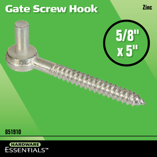 Hardware Essentials Zinc Plated Gate Screw Hooks 5/8 x 5in