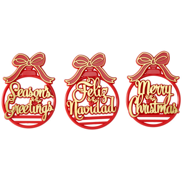 Ornament Holiday Script Assortment Layon