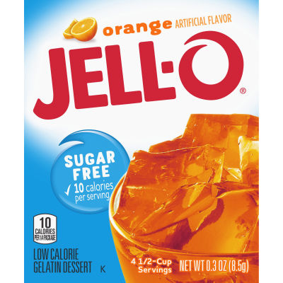 Jell-O Orange Sugar-Free Gelatin 0.3 oz Box