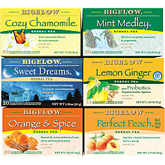 Mixed Case of 6 Bigelow Herbal Teas - Case of 6 boxes- total of 118 teabags