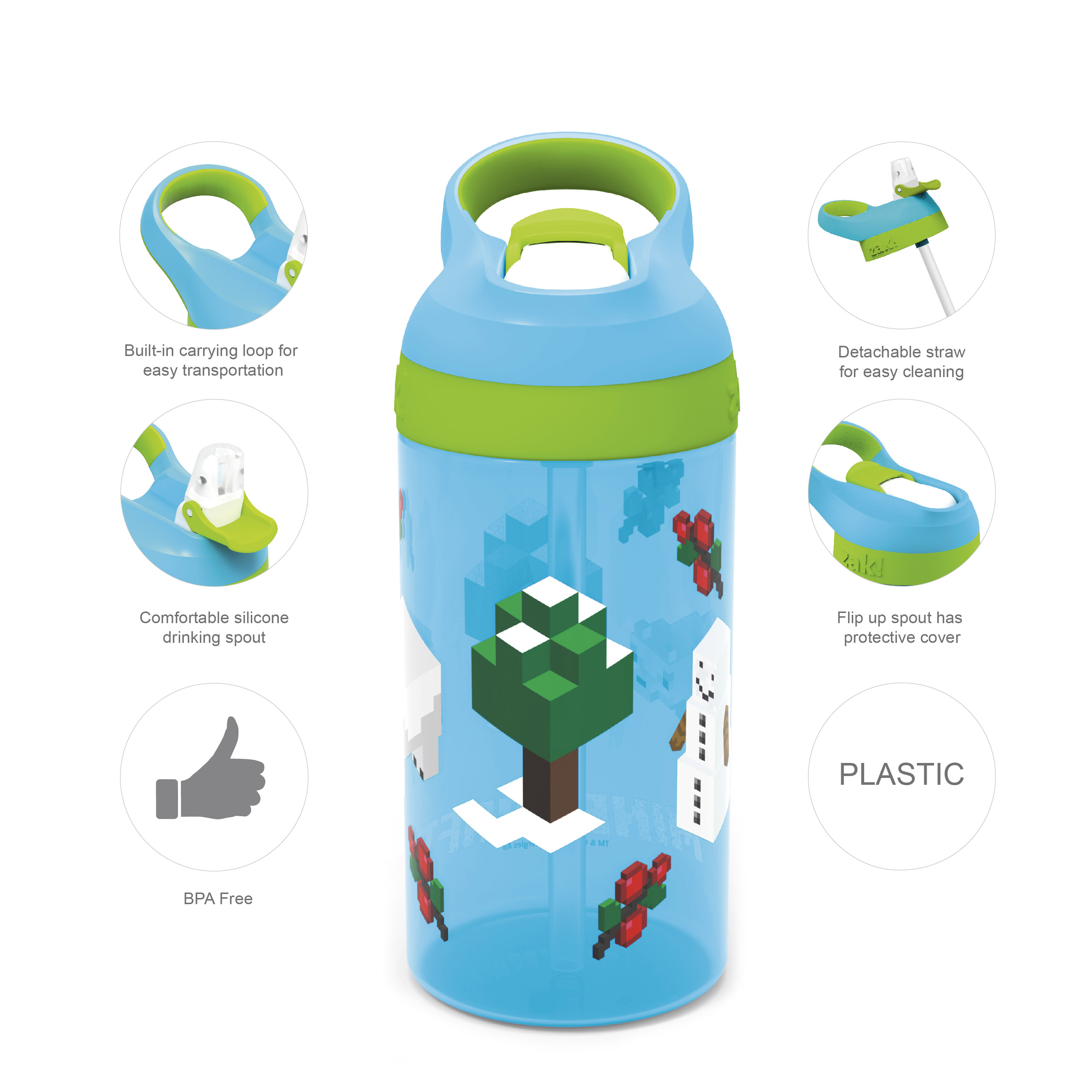 Minecraft 16 ounce Water Bottle, Assorted Minecraft Characters slideshow image 3