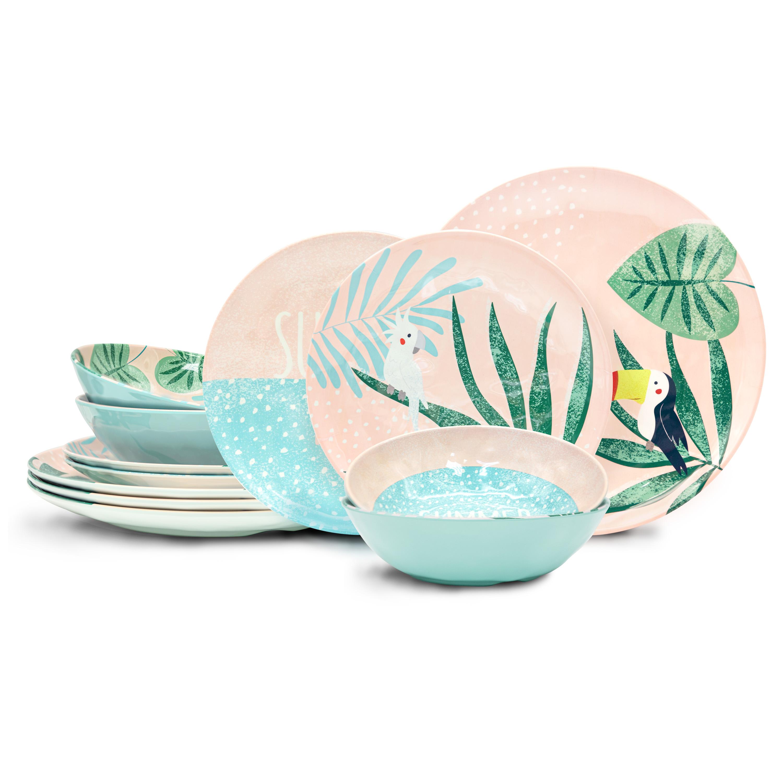 Summer Prints Dinnerware Set, Pink Tropics, 12-piece set slideshow image 1