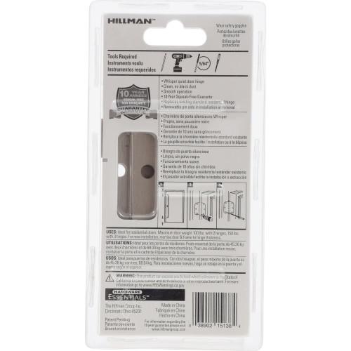 Hardware Essentials Square Corner Satin Nickel Squeak-Proof Door Hinges 3-1/2