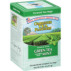 Wadmalaw Island Green Tea Mint Pyramid Bags - Case of 6 boxes- total of 72 teabags