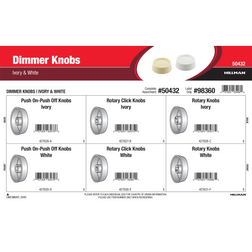 Dimmer Knobs Assortment (IvorY & White)
