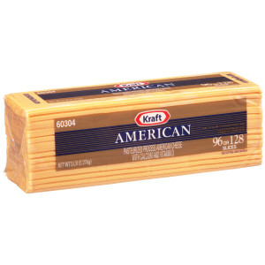 KRAFT American Sliced Ribbon Cheese (96-128 Slices), 5 lb. (Pack of 4) image