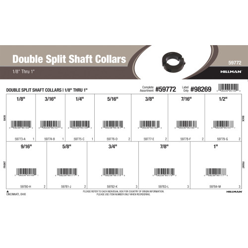 Double Split Shaft Collars Assortment