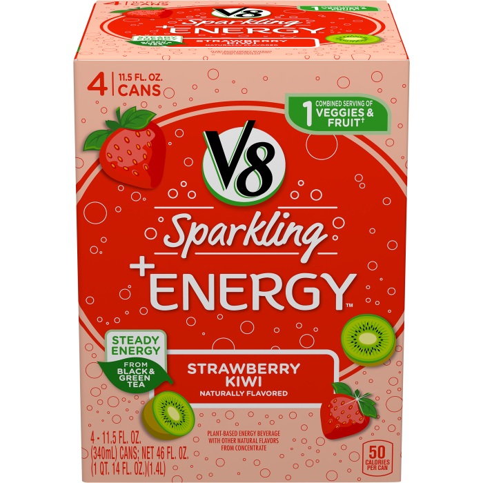 V8 Sparkling +Energy™, Strawberry Kiwi, 11.5 Ounce Can (Pack of 4)