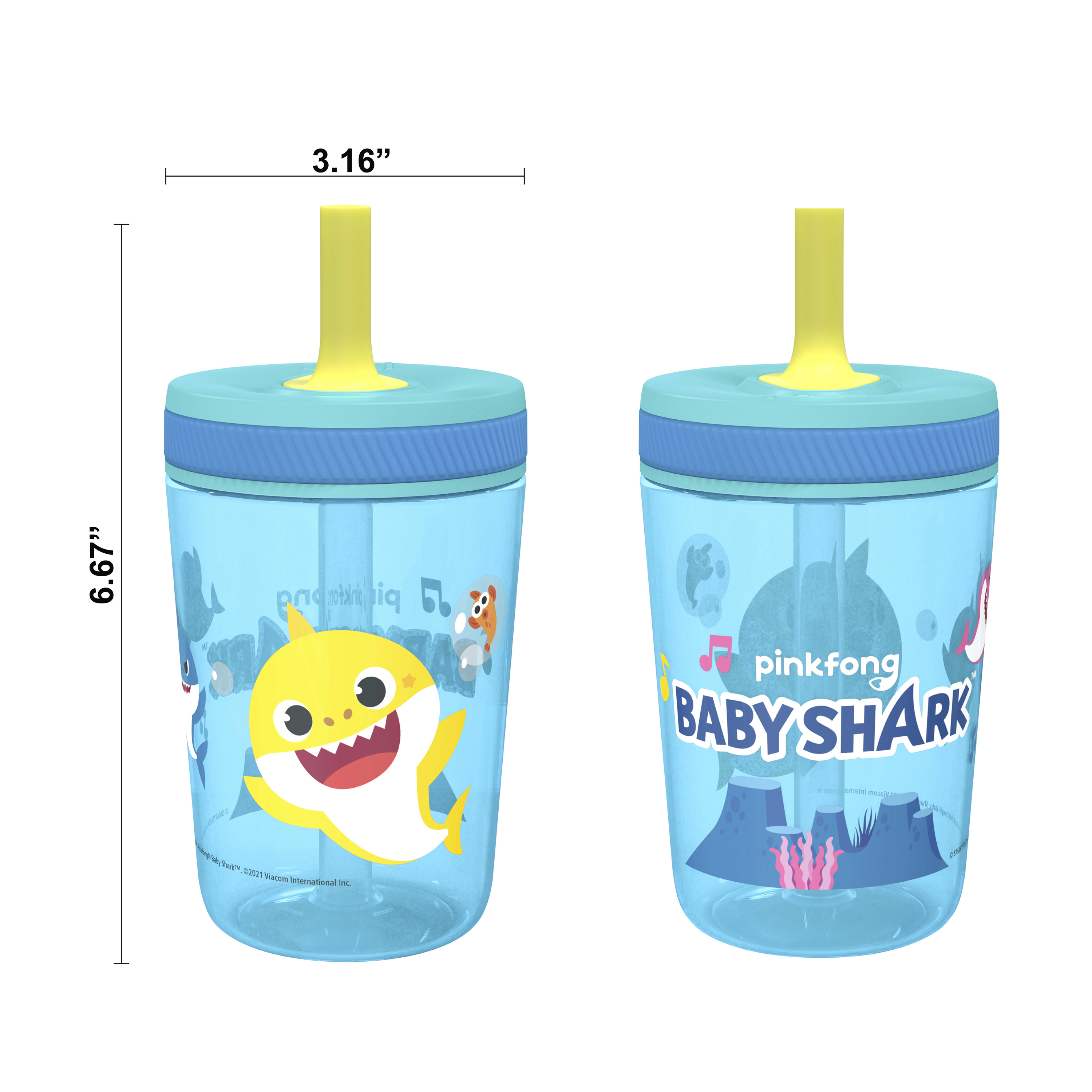 Pinkfong 15  ounce Plastic Tumbler with Lid and Straw, Baby Shark, 2-piece set slideshow image 2