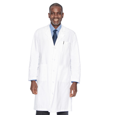 Landau 3 Pocket Lab Coat for Men - Classic Relaxed Fit, 5 Button, Full Length, Cotton Twill 3138-