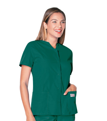 Landau Scrub Zone Scrub Top for Women: 2 Pocket, Classic Relaxed Fit, Notch Neck, Durable Snap-Front 70223-