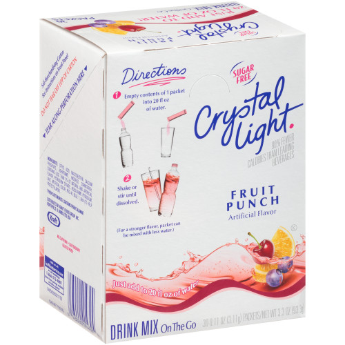 CRYSTAL LIGHT Single Serve Sugar-Free Fruit Punch On-the-Go Mix, 30-0.11 oz. Packets (Pack of 4 Boxes)