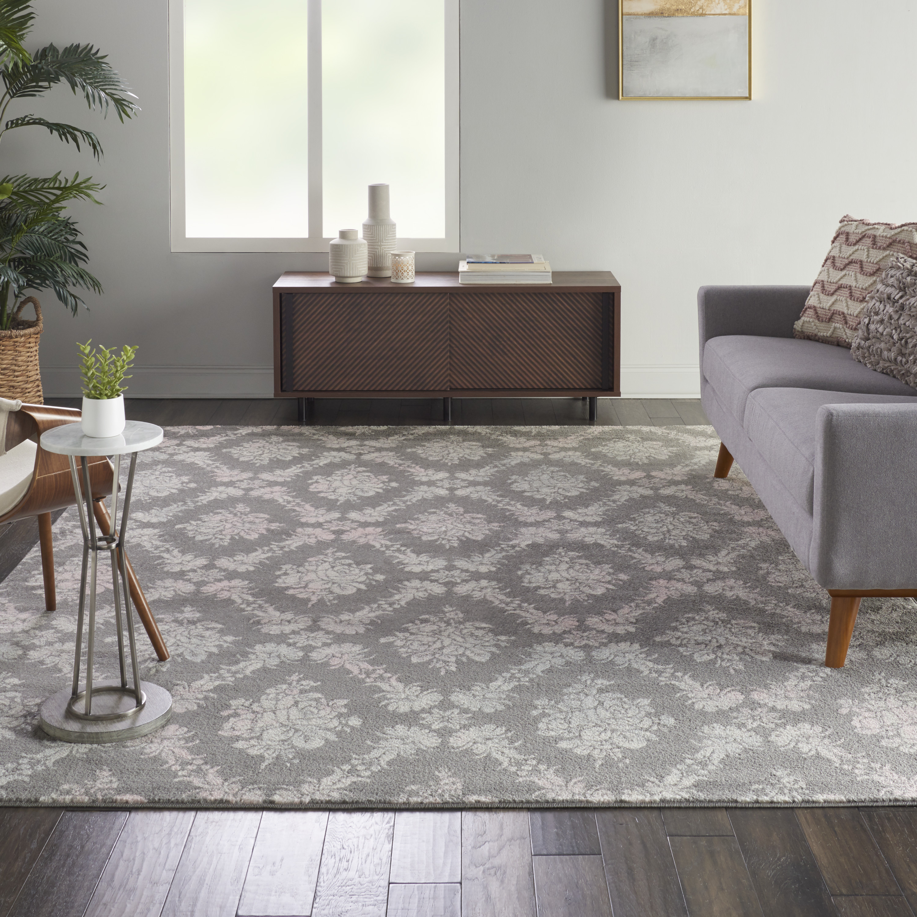 Nourison Tranquil TRA09 Grey Pink Rug