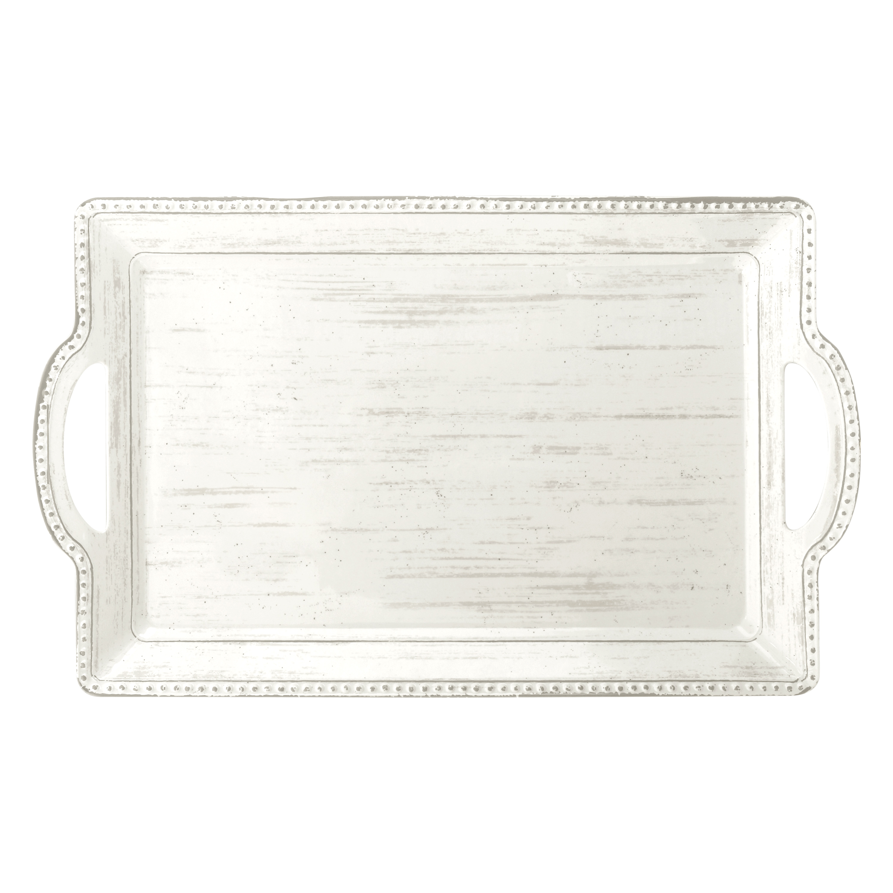 French Country Serving Tray with Handles, Oyster slideshow image 1