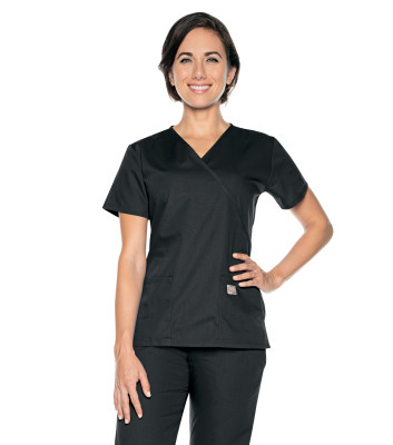 Landau Scrub Zone Mock Wrap Scrub Top for Women: 2 Pocket, Classic Relaxed Fit 70224-Landau