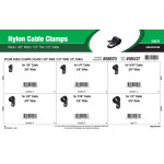 "Black Nylon Cable Clamps Assortment (3/8"" Wide for 1/8"" thru 1/2"" Cable)"