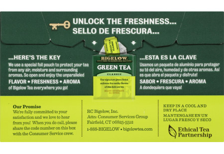Back of Green Tea box bilingual packaging