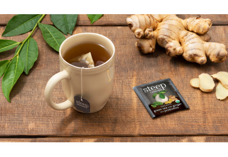 Cup of steep by Bigelow Organic Green Tea Plus Probiotics with foil packet