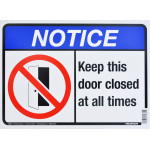 "Aluminum Keep This Door Closed Notice Sign, 10"" x 14"""