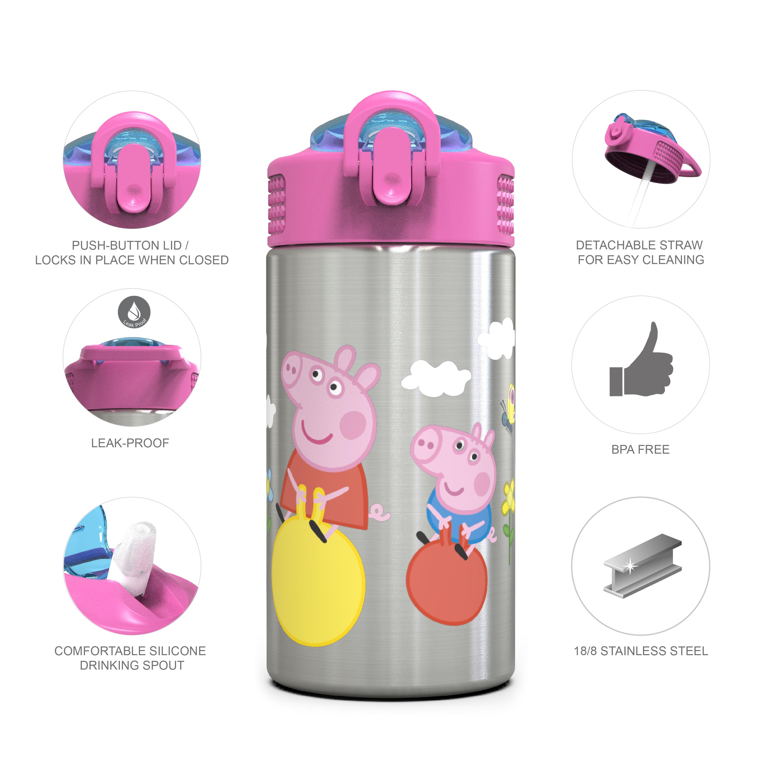 Nick Jr. 15.5 ounce Water Bottle, Peppa Pig slideshow image 2