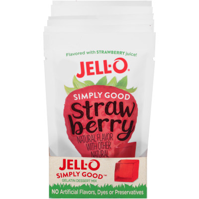 Jell-O Simply Good Strawberry Gelatin Mix 3 oz Pouch