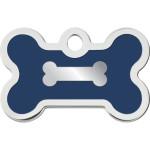 Chrome Bone with Blue Epoxy Small Bone ID Spot Tag