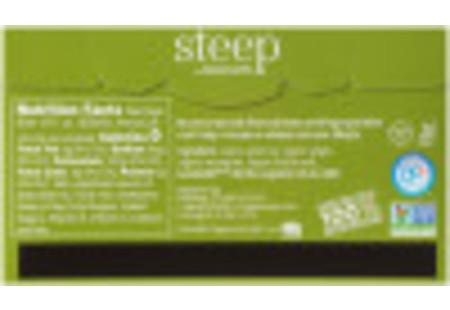 Back of steep by bigelow organic green tea with ginger plus probiotics tea box
