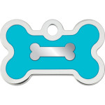 Chrome Bone with Turquoise Epoxy Small Bone Quick-Tag