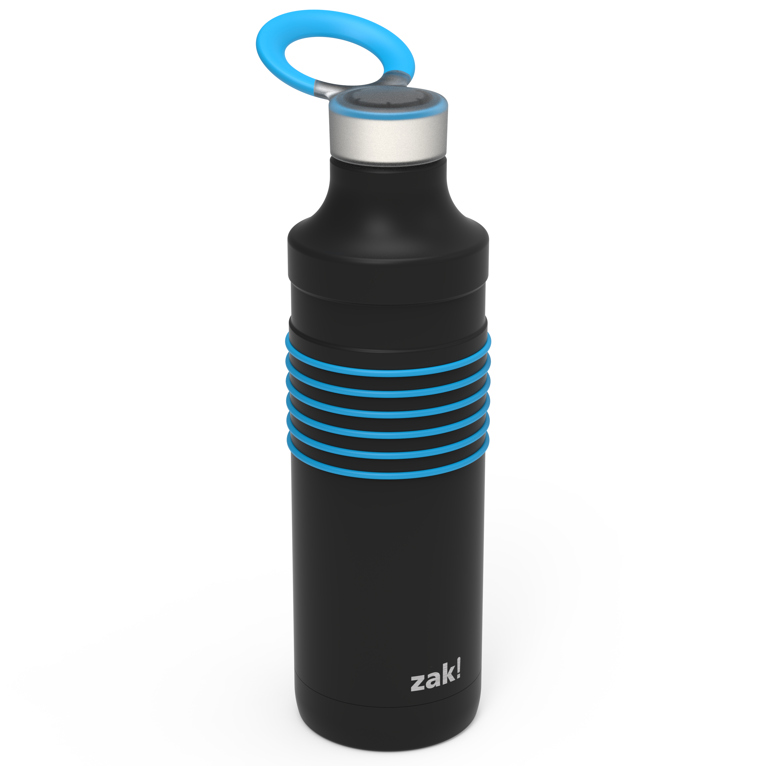 HydraTrak 22 ounce Vacuum Insulated Stainless Steel Tumbler, Black with Blue Rings slideshow image 1