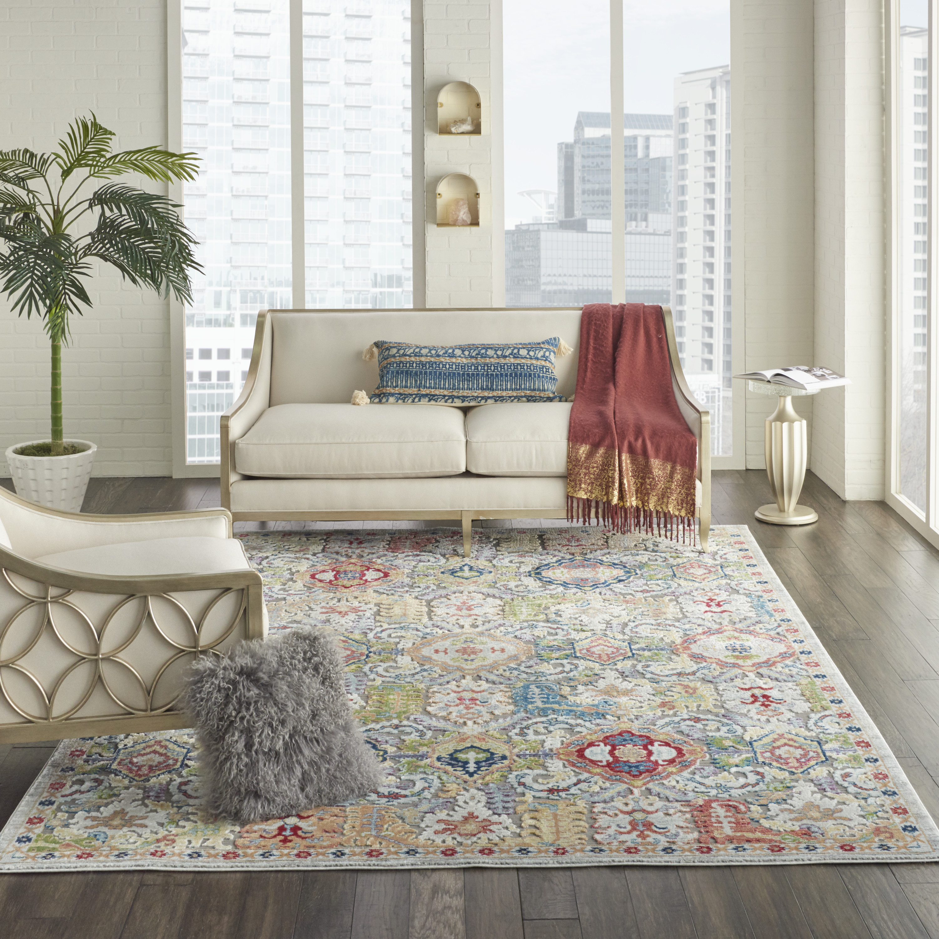 Nourison Ankara Global Anr12 Grey Multicolor 8'X10' Large Textured Rug