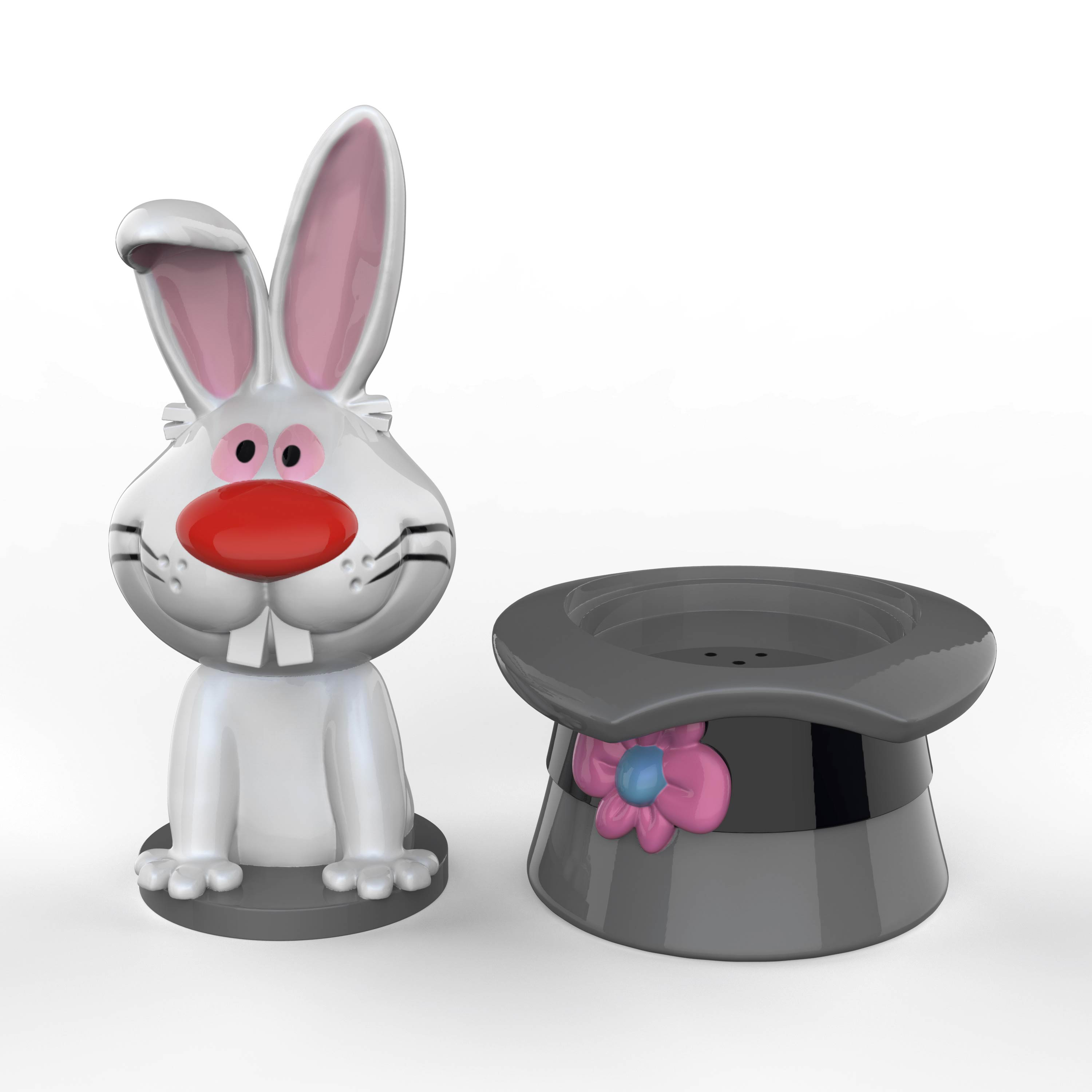 Frosty the Snowman Salt and Pepper Shaker Set, Top Hat & Bunny, 2-piece set slideshow image 2