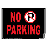 Black No Parking Horizontal Sign With Graphic