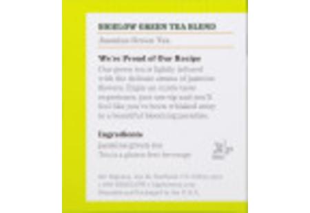 Ingredient panel ofJasmine Green Tea box
