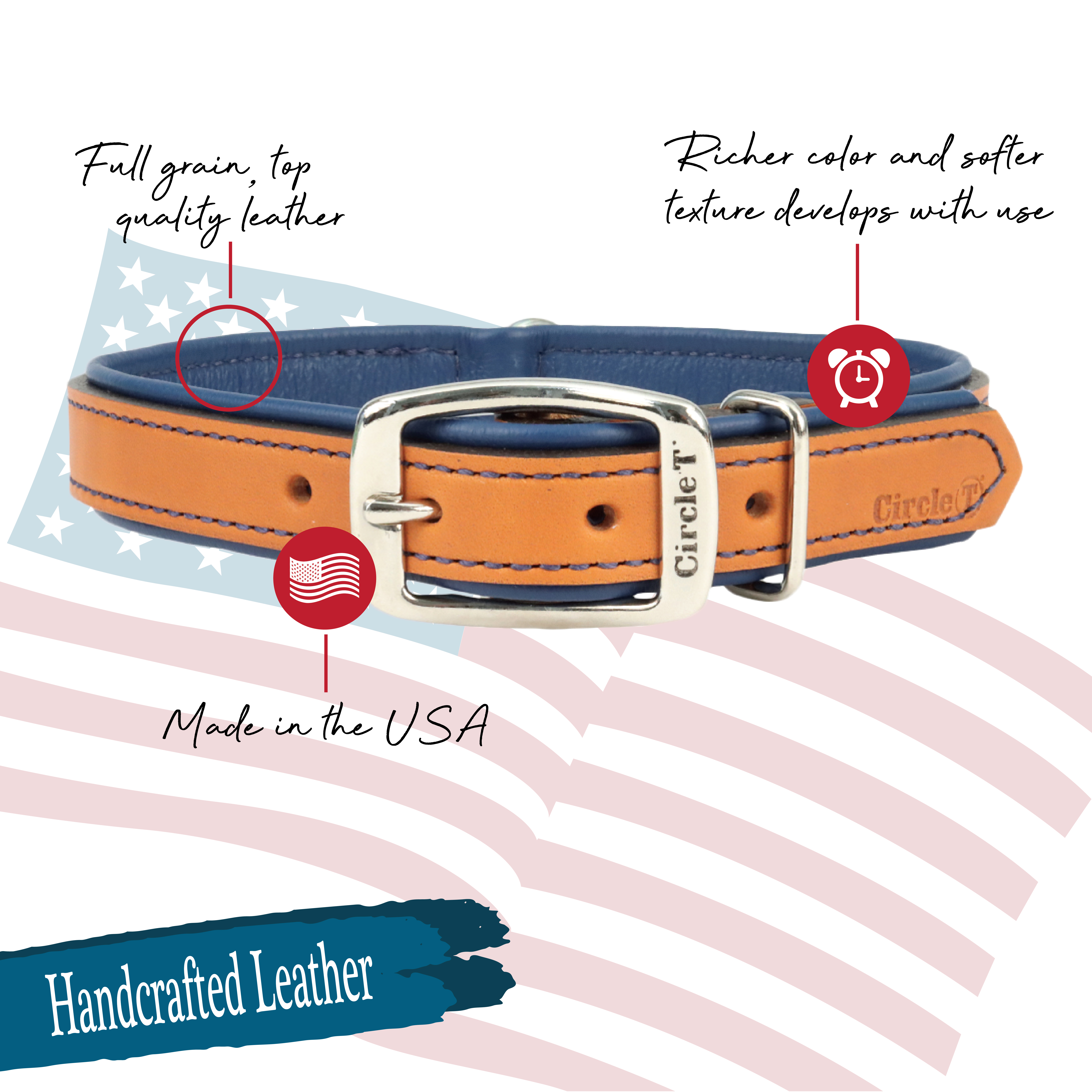 Circle T® Double-Ply Fashion Leather Collar