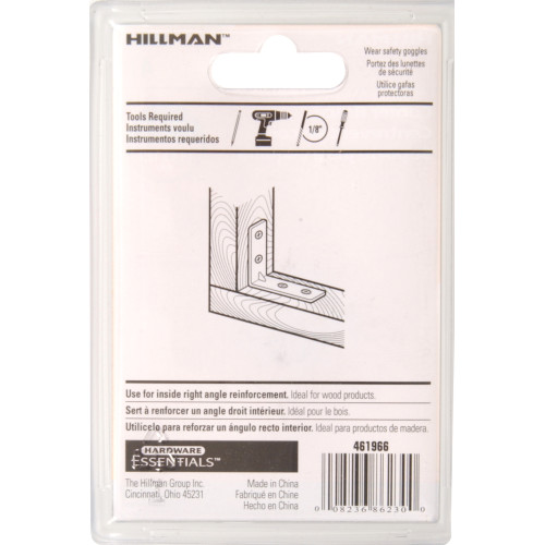 Hardware Essentials Zinc Corner Brace - Carded (3/4