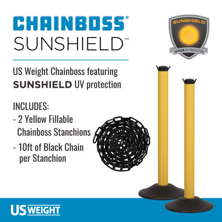 ChainBoss Stanchion - Yellow Empty with Black Chain 2