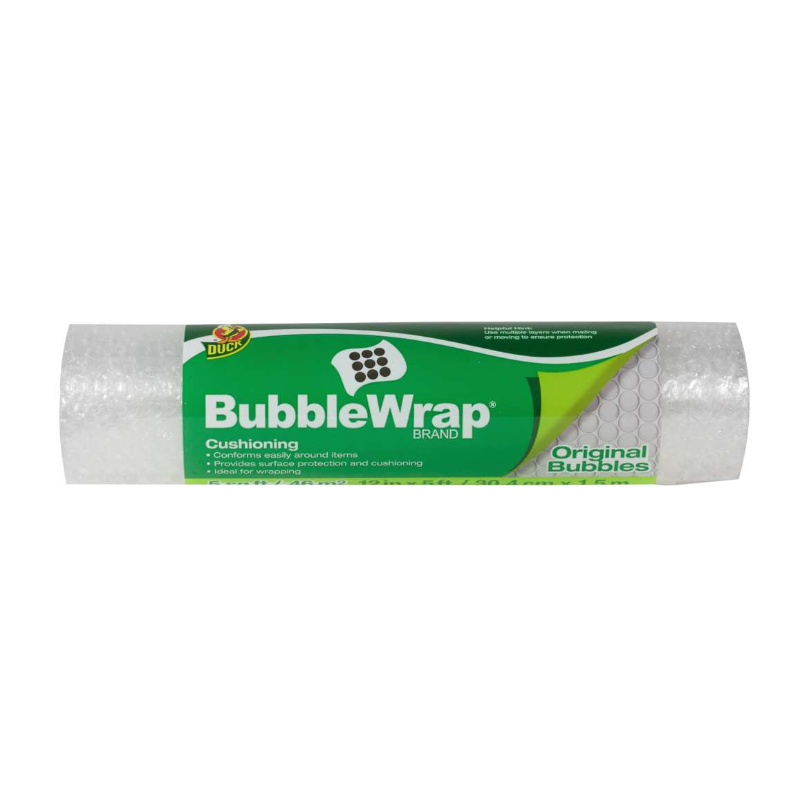 Duck® Brand Original Bubble Wrap® Cushioning - Clear, 12 in. x 5 ft. Image