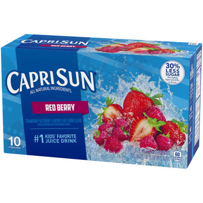 Capri Sun Red Berry Strawberry Raspberry Flavored Juice Drink Blend 10 - 6 fl oz Pouches