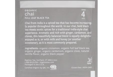 steep cafe by Bigelow organic full leaf chai black tea pyramid bag in overwrap - ingredient list