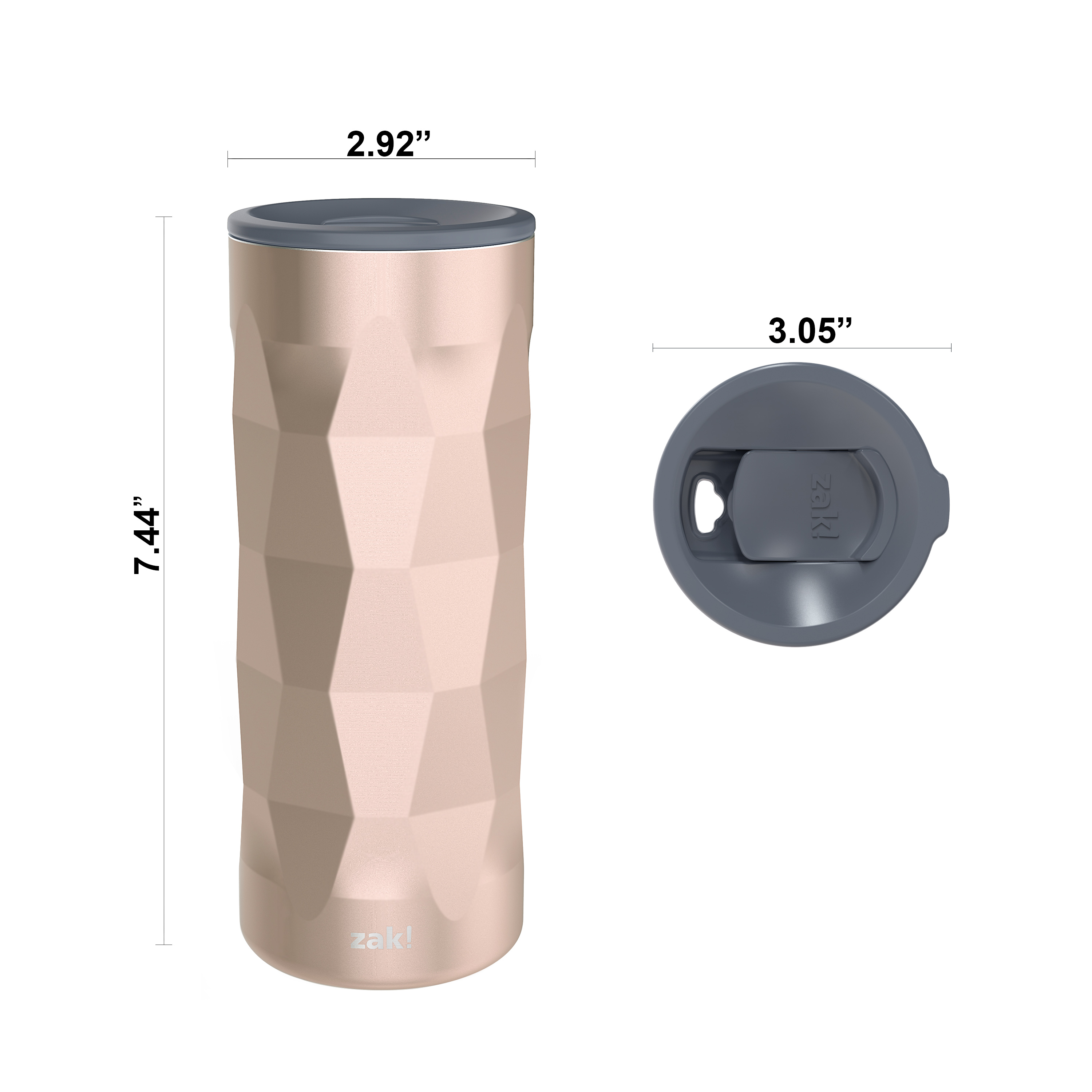 Fractal 16 ounce Vacuum Insulated Stainless Steel Tumbler, Rose Gold slideshow image 5