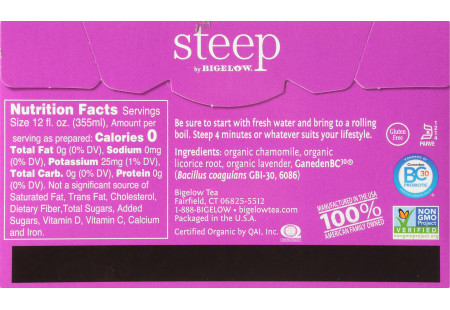 Back of steep by bigelow organic lavender chamomile herbal tea plus probiotics tea box