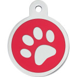 Red Epoxy Paw Large Circle Quick-Tag