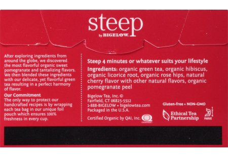 Back of steep by bigelow organic green tea with pomegranate tea box